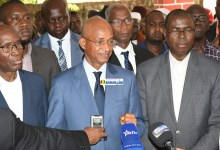 Cellou Dalein Diallo, Faya Millimono, Bah Oury, Aliou Bah et Etienne Soropogui tous de l'opposition au siège de l'UFDG