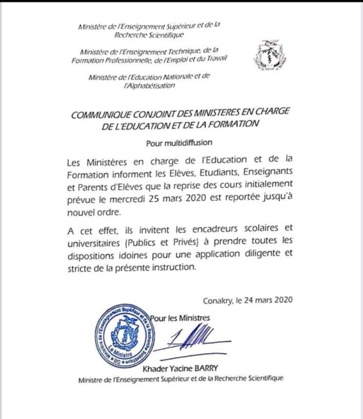Les écoles et universités fermées jusqu'à nouvel ordre