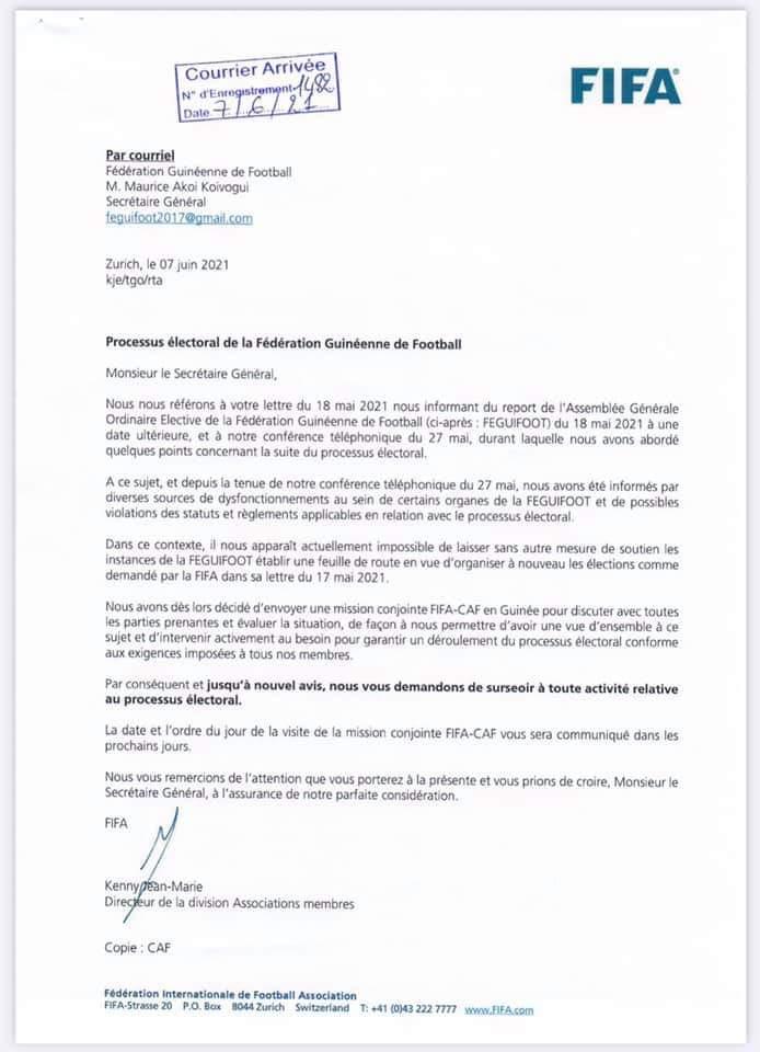 Féguifoot :Vers l'envoi d'une mission conjointe CAF/FIFA à l'effet d'écouter toutes les parties prenantes en vue d'évaluer la situation