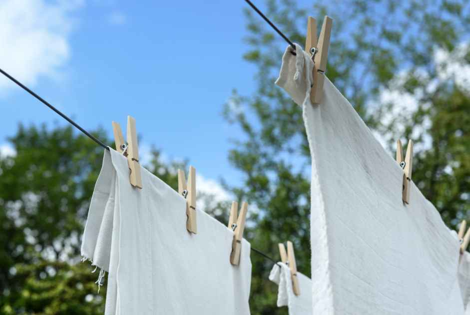 clothes pinned on an outside line