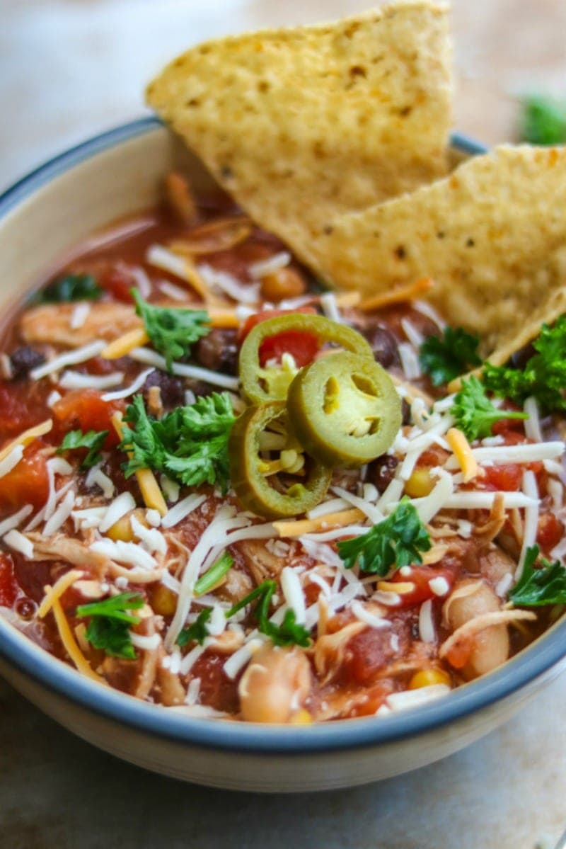 Slow Cooker Chicken Chili: An easy, dump and forget it gluten free chicken chili.