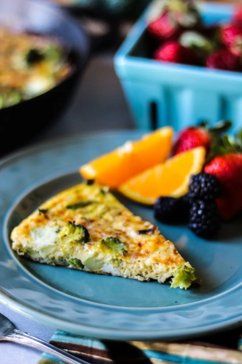 Broccoli and Asaparagus Frittata: Fresh spring vegetables are sauteed with bacon and then baked with cheesy eggs for a hearty, healthy breakfast that is perfect for brunch or a light dinner. Gluten Free.