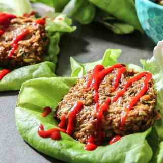 Grain Free Green Chilie Veggie Burgers: A spicy vegetarian burger patty made from sweet potatoes, zucchini, green chilies.