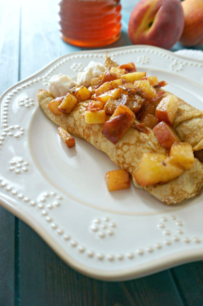 Whole Wheat Peaches and Cream Crepes