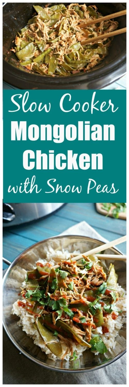 Slow Cooker Mongolian Chicken with Snow Peas: Chicken and snow peas are simmered in the slow cooker with a naturally sweetened rich and spicy sauce. You won't believe how easy it is to make this tasty dish!