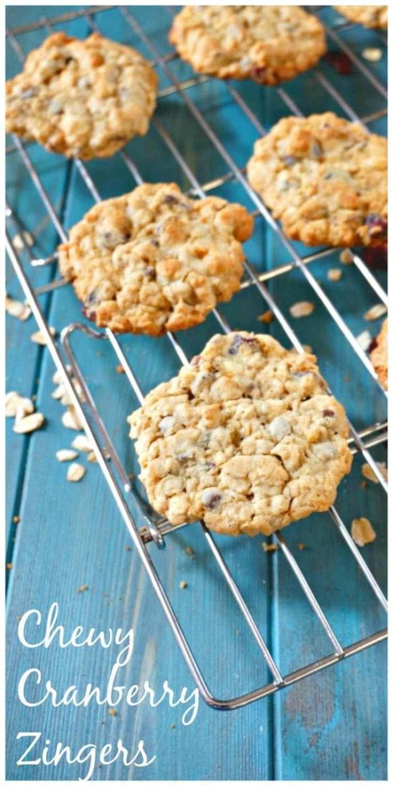Chewy Cranberry Zinger Cookies: A chewy oatmeal cookie that is filled with dried cranberries, chopped nuts, cinnamon and a zing of ginger. A recipe shared straight from Christy Jordan's cookbook, Sweetness.
