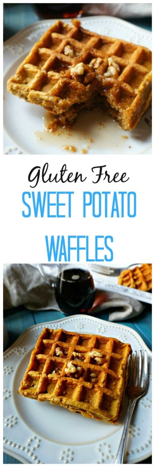 Gluten Free Sweet Potato Waffles: Rich, warming spices, and sweet potato are blended into an easy gluten free blender waffle batter that is transformed into the perfect fall breakfast.