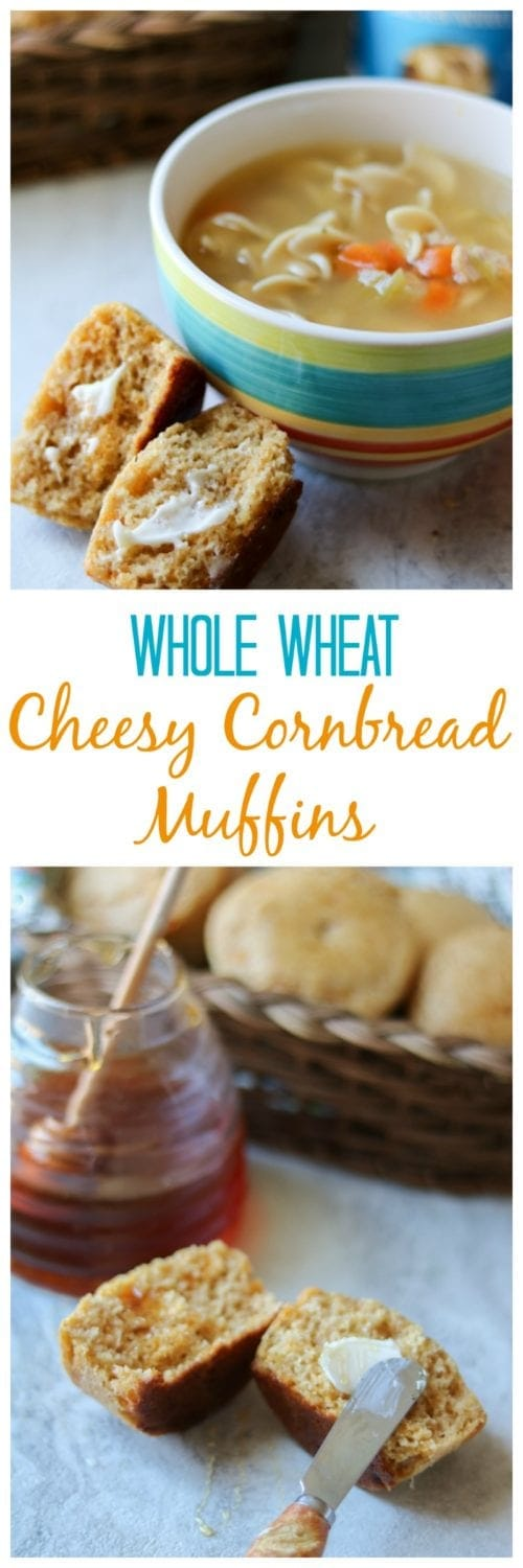 Whole Wheat Cheesy Cornbread Muffins: Easy, from-scratch, whole grain cornbread that is naturally sweetened with honey and bursting with sharp cheddar cheese. #SoupYourWay