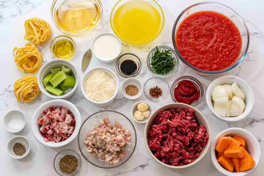 Ingredients for Bolognese Sauce on counter.