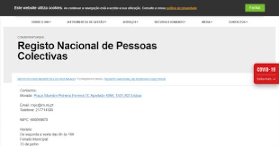 IRN > Conservatorias > Registo Nacional de Pessoas Colectivas