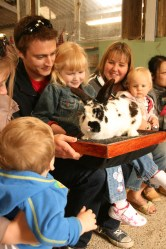 Petting time at Dairyland. The rabbit was about the same size as JJ.