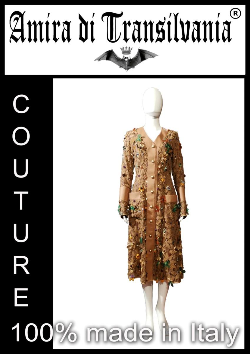 Cappotto couture ricamato a mano