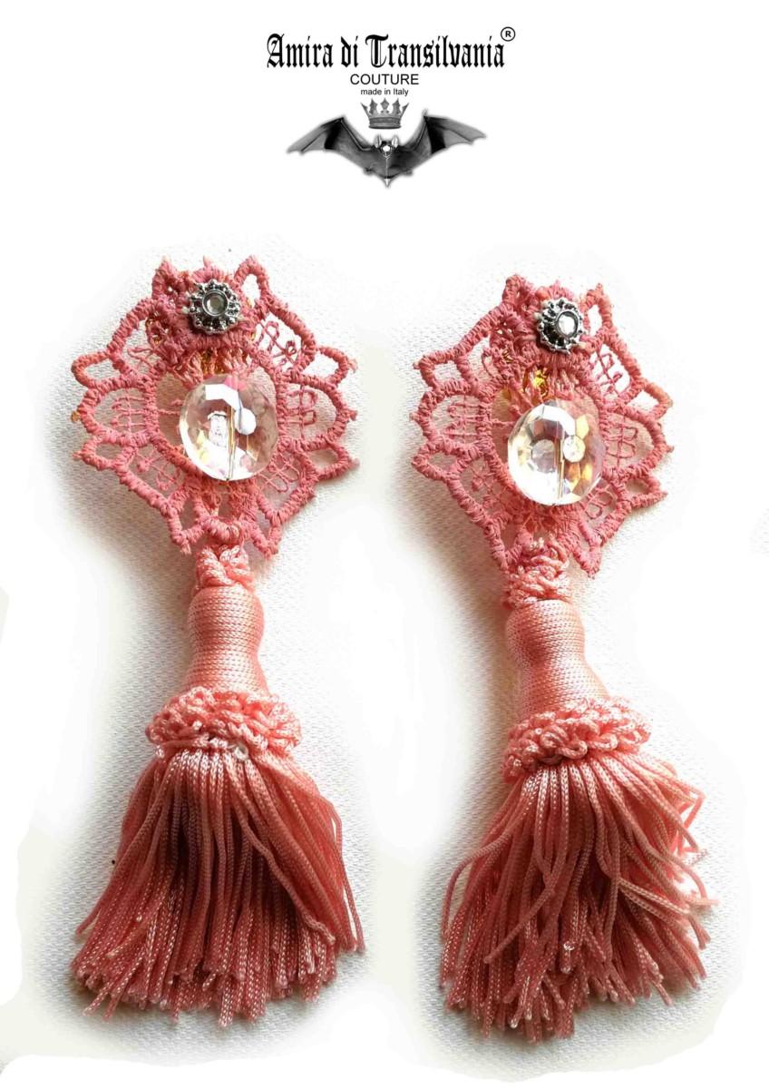 orecchini rosa antico con pendente
