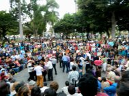 every Sunday people gather to dance and watch the dancers at Parque Kennedy