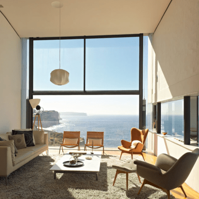 home on a cliff livingroom
