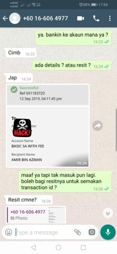 whatsapp scammer resit palsu