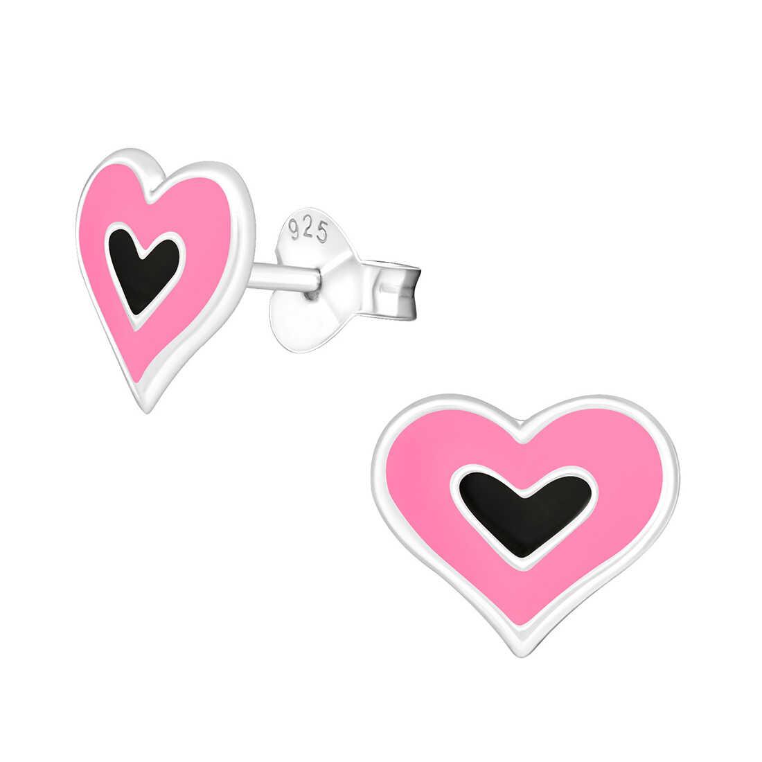 עגילים בצורת לב עשויים מכסף 925