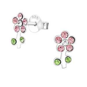 עגילים מכסף בצורת פרחים