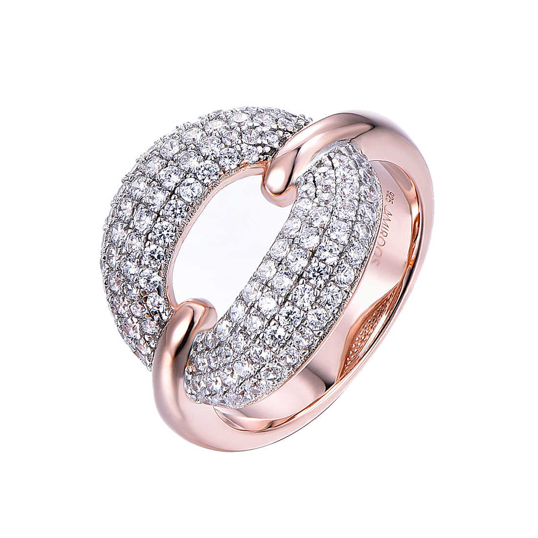 טבעת כסף מעוצבת משובצת אבני זרקון