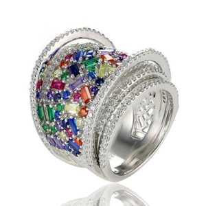טבעת כסף צבעונית
