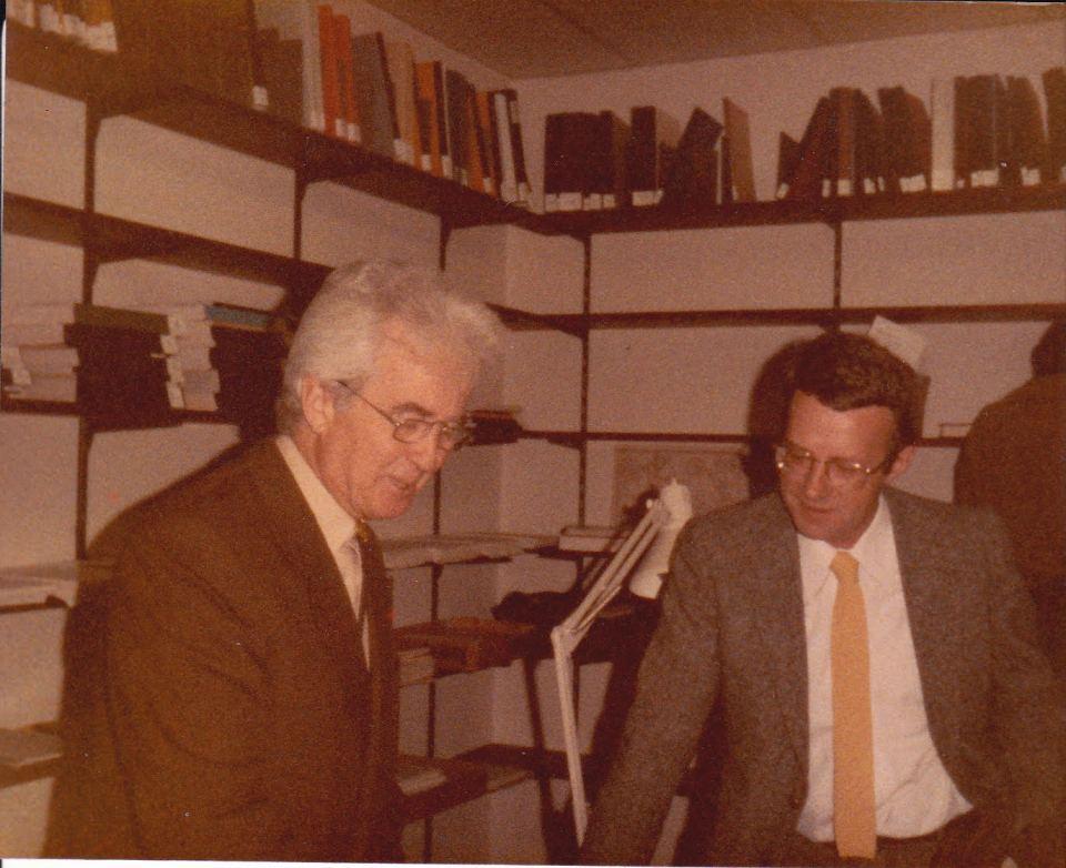 Gilbert Durand et Alain Verjat au CRI-GRIM de l'Université de Barcelone en 1984