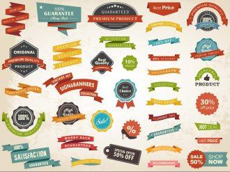 Vintage Label Banner Tag Sticker Badge Vector