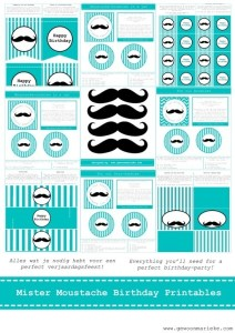 Moustache printables party