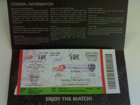 Complimentary Tickets to the IPL match at Kotla