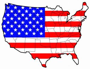 Карта США с флагом
