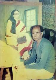 The Writer before his painting of his wife Gouri Devi