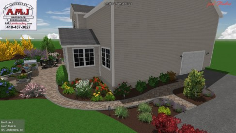 3D landscaping design walkway and plants