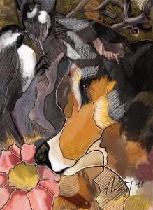 Dessin d'un chien avec des oiseaux dans les champs
