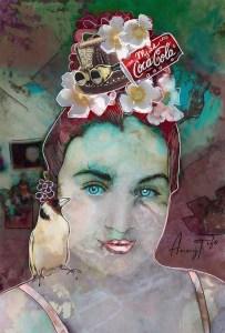 Collage d'un portrait de jeune fille