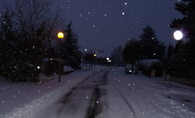 zondagavond in de sneeuw