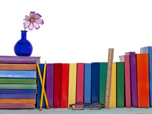 A bookshelf background with a vase and flowers.