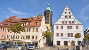 Pirna mit Frauenkirche und Canalettohaus