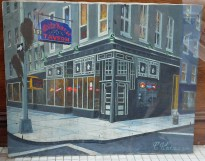 A 1996 painting of the White Horse Tavern by C. Katz, proudly