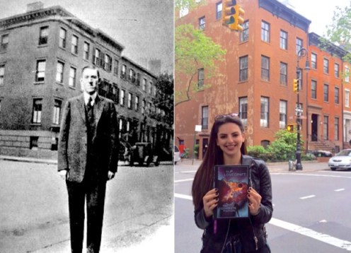 The author re-stages Lovecraft's portrait taken in front of his Brooklyn home in the mid-1920s