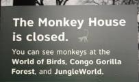 "Close-up of ""closed"" sign outside Monkey House"