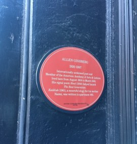 A plaque at 170 East Second Street indicating that Ginsberg lived there