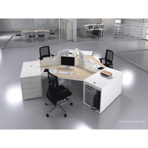 bureau operatif 120 degres logic bois naturel et blanc configuration 3 postes
