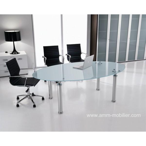 table de reunion ovale en verre studio