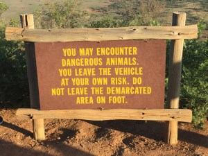 "Sign from Pilansberg game reserve that reads ""You may encounter dangerous animals. You leave the vehicle at your own risk. Do not leave demarcated area on foot."""