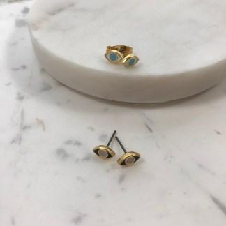 Enamel Mati Stud Earrings