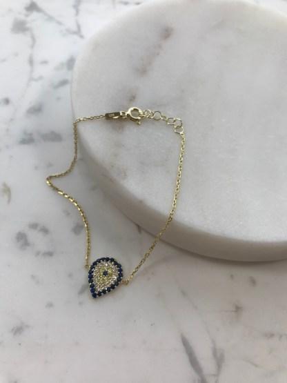 Gold Teardrop Mati Bracelet
