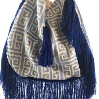 Fringed Meandros Beach Tote