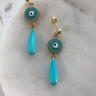 Turquiose Mati Drop Earrings