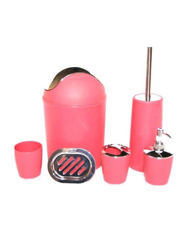 set de 6 accessoires de salle de bain rose