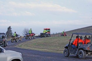 Kendra Peek/kendra.peek@amnews.com ATVs and cars leave the Boyle County Fire Department on Airport Road, heading to search Michael Gorley, who has been missing since May 17, 2015.