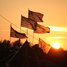 U.S. flags at the Boyle County Fair wave in the setting sun on Wednesday, which was Flag Day.